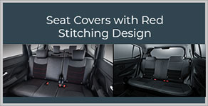 SEAT COVERS WITH RED STITCHING DESIGN